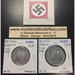 @OFERTA 2 MONEDAS@ 1 LEK 1939 + 2 LEK 1939 ALBANIA VITTORIO EMANUELLE III KM.31 y 32 OCUPACION NAZI III REICH WWII