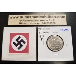 ALEMANIA 1 MARCO 1934 F AGUILA NAZI III REICH KM.78 MONEDA DE NICKEL EBC Germany 1 Reichsmark Deutsches Reich