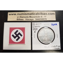 ALEMANIA 5 MARCOS 1934 A IGLESIA DE POSTDAM y LEYENDA CON ESVASTICAS NAZI III REICH KM.82 MONEDA DE PLATA Germany 5 Reichsmark 1
