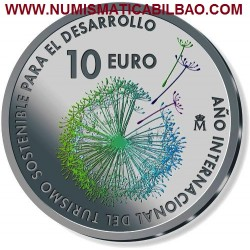 @NOVEDAD@ ESPAÑA 10 EUROS 2017 AÑO INTERNACIONAL DEL TURISMO SOSTENIBLE REY FELIPE VI MONEDA DE PLATA FNMT