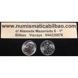 ESTADOS UNIDOS 10 CENTAVOS DIME 1969 D ROOSVELT KM.195A MONEDA DE NICKEL SC USA 10 Cents
