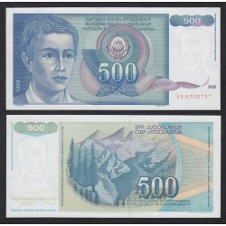 YUGOSLAVIA 500 DINARA 1990 NIÑO y MONTAÑAS Pick 106 BILLETE SC UNC BANKNOTE 500 Dinar