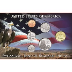 @NOVEDAD@ ESTADOS UNIDOS 1+5+10+25+50 Centavos + 1 DOLAR 2014 TRIBU INDIA SOVEREIGN NATION OF KUMEYAAY INDIANS