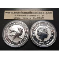 AUSTRALIA 1 DOLAR 2004 KOOKABURRA MONEDA DE PLATA PURA SC $1 Dollar Coin ONZA OZ OUNCE