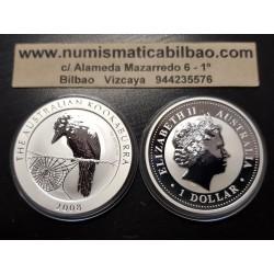 AUSTRALIA 1 DOLAR 2008 KOOKABURRA MONEDA DE PLATA PURA SC $1 Dollar Coin ONZA OZ OUNCE