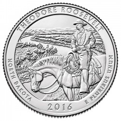 ESTADOS UNIDOS 25 CENTAVOS 2016 P PARQUE NACIONAL THEODORE ROOSEVELT MONEDA DE NICKEL SC USA QUARTER NORTH DAKOTA