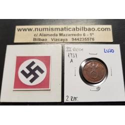 ALEMANIA 2 REICHSPFENNIG 1939 A AGUILA SOBRE ESVASTICA NAZI KM.90 MONEDA DE BRONCE @LUJO@ Germany 1