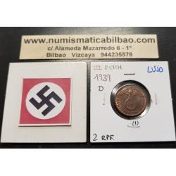 ALEMANIA 2 REICHSPFENNIG 1939 D AGUILA SOBRE ESVASTICA NAZI KM.90 MONEDA DE BRONCE @LUJO@ Germany 1