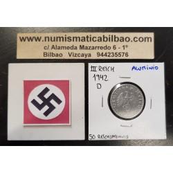 ALEMANIA 50 REICHSPFENNIG 1942 D AGUILA SOBRE ESVASTICA NAZI KM.96 MONEDA DE ALUMINIO Germany