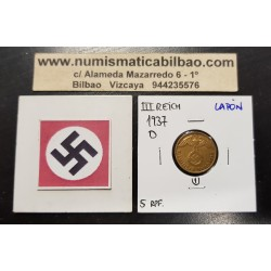 ALEMANIA 5 REICHSPFENNIG 1937 D AGUILA SOBRE ESVASTICA NAZI KM.91 MONEDA DE LATON Germany 1
