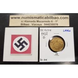 ALEMANIA 10 REICHSPFENNIG 1937 D AGUILA SOBRE ESVASTICA NAZI KM.92 MONEDA DE LATON Germany 1