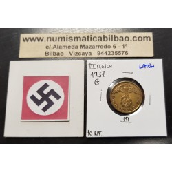 ALEMANIA 10 REICHSPFENNIG 1937 G AGUILA SOBRE ESVASTICA NAZI KM.92 MONEDA DE LATON Germany 1