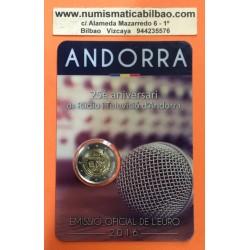 ANDORRA 2 EUROS 2017 RADIO y TELEVISION 25 ANIVERSARIO SC @85.000 uds.@ (Fecha real Andorra 2 Euros 2016)