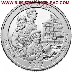 @NOVEDAD@ ESTADOS UNIDOS 25 CENTAVOS 2017 P PARQUE NACIONAL ELLIS ISLAND en NEW JERSEY MONEDA DE NICKEL SC USA Quarter