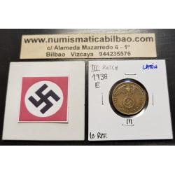 ALEMANIA 10 REICHSPFENNIG 1938 E AGUILA SOBRE ESVASTICA NAZI KM.92 MONEDA DE LATON Germany 1