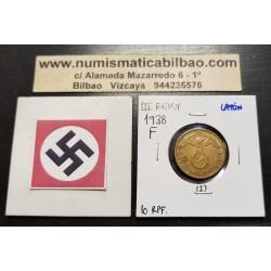ALEMANIA 10 REICHSPFENNIG 1938 F AGUILA SOBRE ESVASTICA NAZI KM.92 MONEDA DE LATON Germany 2