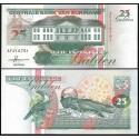 SURINAME 25 GULDEN 1991 PAJAROS y NADADOR A MARIPOSA Pick 138A BILLETE SC Surinam UNC BANKNOTE