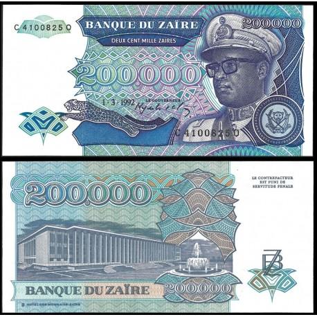 ZAIRE 200000 NUEVOS ZAIRES 1992 DICTADOR MOBUTU y GRAN HOTEL Pick 42 BILLETE SC Africa UNC BANKNOTE Deux Cent Mille Zaires