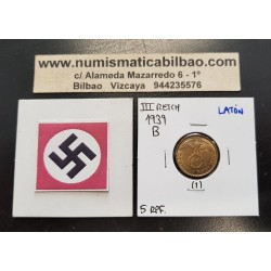 ALEMANIA 5 REICHSPFENNIG 1939 B AGUILA SOBRE ESVASTICA NAZI KM.91 MONEDA DE LATON Germany 1