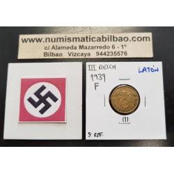 ALEMANIA 5 REICHSPFENNIG 1939 F AGUILA SOBRE ESVASTICA NAZI KM.91 MONEDA DE LATON Germany 1