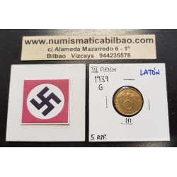 ALEMANIA 5 REICHSPFENNIG 1939 G AGUILA SOBRE ESVASTICA NAZI KM.91 MONEDA DE LATON Germany 1