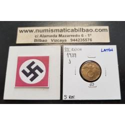 ALEMANIA 5 REICHSPFENNIG 1939 J AGUILA SOBRE ESVASTICA NAZI KM.91 MONEDA DE LATON Germany 2