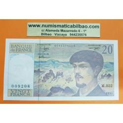 FRANCIA 20 FRANCOS 1991 DEBUSSY Serie M032 Pick 151E BILLETE MBC+ France 20 Francs banknote