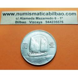 @RARA@ CHINA 1 DOLAR 1934 SUN YAN-SET BARCO JUNCO KM.345 MONEDA DE PLATA Republic 1 Dollar 1914 Junk silver