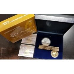 ESPAÑA 10 EUROS 2007 + 200 EUROS 2007 TRATADO DE ROMA 50 ANIVERSARIO 2 MONEDAS DE PLATA y ORO ESTUCHE FNMT