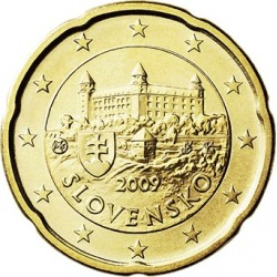 ESLOVAQUIA 20 CENTIMOS 2009 CASTILLO ANTIGUO MONEDA DE LATON SC Solvakia 20 Euro Cents