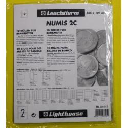 LEUCHTTURM 10 HOJAS DE PLASTICO NUMIS 2C de 2 ESPACIOS 165mm x 107mm BILLETES, POSTALES... para ALBUM PARDO PEQUEÑO