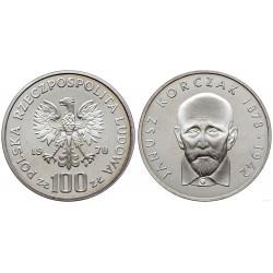POLONIA 100 ZLOTY 1978 DOCTOR EN LOS GUETTOS JANUSZ KORCZAK KM.94 MONEDA DE PLATA PROOF Poland 100 Zlotych ZL