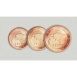 ESTONIA 1+2+5 CENTIMOS 2011 MAPA 3 MONEDAS DE COBRE SIN CIRCULAR Euro Euros Cents