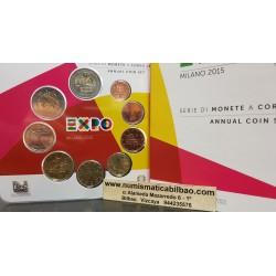 ITALIA CARTERA OFICIAL EUROS 2015 SC 1+2+5+10+20+50 CENTIMOS 1 EURO + 2 EUROS 2015 BU SET KMS 8 MONEDAS