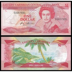 ESTADOS DEL CARIBE 1 DOLAR 1988 ISLA PARADISIACA Pick 21L BILLETE SC @RARO@ EAST CARIBBEAN STATES 1 Dollar