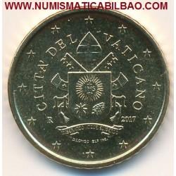 @NOVEDAD@ VATICANO 50 CENTIMOS 2017 ESCUDO DEL PAPA FRANCISCO MONEDA DE LATON SIN CIRCULAR SC EURO