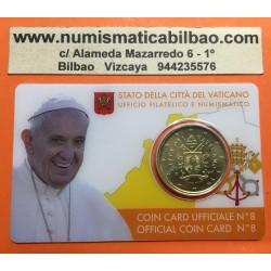 @NOVEDAD@ VATICANO 50 CENTIMOS 2017 ESCUDO DEL PAPA FRANCISCO MONEDA DE LATON COINCARD Nº 8 COIN CARD EURO