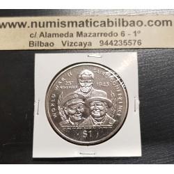 LIBERIA 1 DOLAR 1995 WORLD WAR II CONFERENCIA DEL CAIRO KM.164 MONEDA DE NICKEL SC 1 Dollar