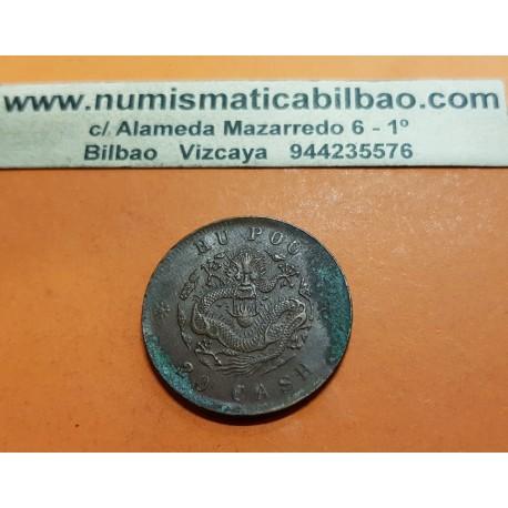 CHINA 20 CASH 1903 DRAGON Provincia de HU POO Emperador Qing Dinastïa CHING MONEDA DE COBRE @ESCASA@ OXIDOS