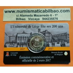 @RARA@ BELGICA 2 EUROS 2017 UNIVERSIDAD DE LIEJA SC MONEDA CONMEMORATIVA EN ESTUCHE OFICIAL (COINCARD) Belgium euro coin
