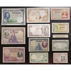 @OFERTA LOTE DE 11 BILLETES@ ESPAÑA 1+5+10+25 PESETAS + 50 PESETAS + 100 PESETAS 1925+1928+1935+1937+1953+1954+1970 CIRCULADOS