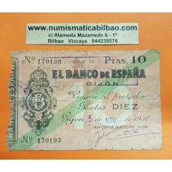 ESPAÑA 10 PESETAS 1936 BANCO DE ESPAÑA GIJON ASTURIAS Sin Serie 170193 BILLETE TIPO TALON @RARO@ GUERRA CIVIL