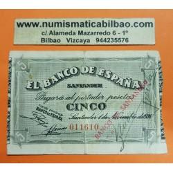 ESPAÑA BANCO DE SANTANDER 5 PESETAS 1936 Sin Serie 011610 BILLETE MBC+ DE LA GUERRA CIVIL @MUY RARO@