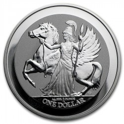 BRITISH VIRGIN ISLANDS 1 DOLAR 2017 DIOSA ATENEA y PEGASO CABALLO ALADO MONEDA DE PLATA SC silver coin ONZA OZ OUNCE