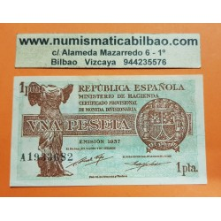 ESPAÑA 1 PESETA 1937 REPUBLICA ESPAÑOLA Serie A 1933682 Pick 94 BILLETE EBC Spain banknote