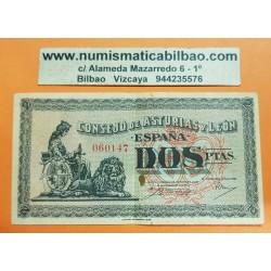 ESPAÑA 2 PESETAS 1937 CONSEJO DE ASTURIAS y LEON Sin Serie 060147 Pick S605 BILLETE MBC @MANCHA@ GUERRA CIVIL Spain Civil War