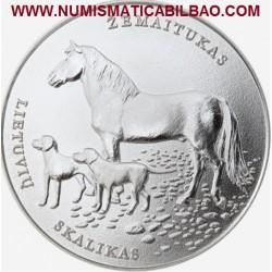@NOVEDAD@ LITUANIA 1,50 EUROS 2017 NATURALEZA CABALLO y PERROS MONEDA DE NICKEL SC @RARA CORTA TIRADA@