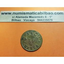 EIBAR FICHA DE COOPERATIVA 3 PESETAS CESTO G.A.C. GAC EMPRESA DE ARMAS y BICICLETAS MONEDA DE LATON @RARA@ GUIPUZKOA