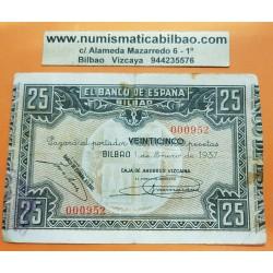 @OFERTA@ BILBAO EUSKADI 25 PESETAS 1937 CAJA DE AHORROS VIZCAINA @MUY BAJO NUMERO 000952@ PICK S.561 BILLETE GUERRA CIVIL