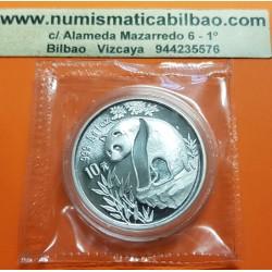 CHINA 10 YUAN 1993 OSO PANDA y PAGODA MONEDA DE PLATA SC @RARA@ 1 ONZA OZ OUNCE Silver coin SEALED MINT BAG